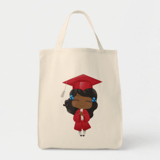 Graduation girl in red tote bag