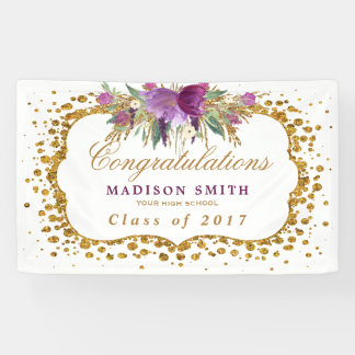 Graduation Glitter Watercolor Flower Gold Confetti Banner