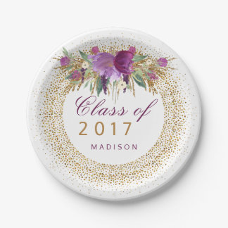 Graduation Glitter Watercolor Flower Gold Confetti Paper Plate
