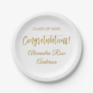 Graduation Gold Foil and White Congratulations Paper Plate
