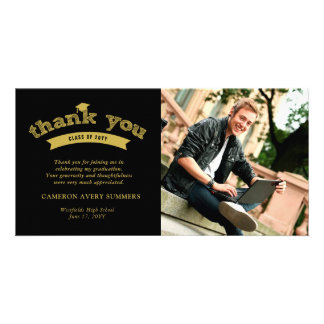 Graduation Gold Sketch Grad Thank You Photo Card