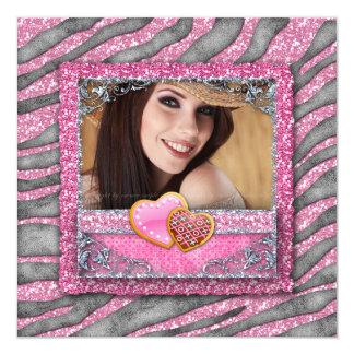 """Graduation Grad Zebra Glitter Bling Photo Hearts 5.25"""" Square Invitation Card"""