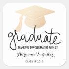 Graduation Hat Faux Rose Gold Foil Thank You Square Sticker