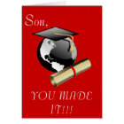 Graduation Hat on top of the World with Diploma Card