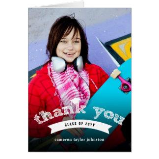 Graduation Hat Sketch Grad Photo Thank You Card