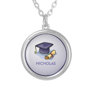 Graduation Hats in Air, Custom Round Gift Silver Plated Necklace