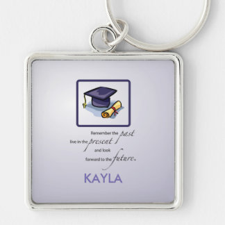 Graduation Hats in Air, Custom Square Gift Silver-Colored Square Keychain