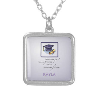 Graduation Hats in Air, Custom Square Gift Silver Plated Necklace