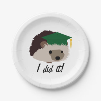 Graduation Hedgehog Plate Green 7 Inch Paper Plate