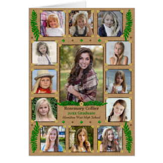 Graduation High School Photo Collage | Burlap Fern Card