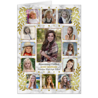 Graduation High School Photo Collage | Gold Marble Card