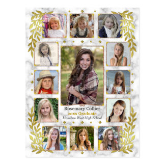 Graduation High School Photo Collage | Gold Marble Postcard