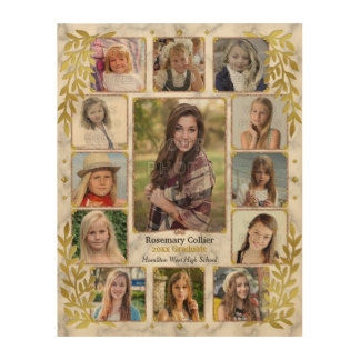 Graduation High School Photo Collage | Gold Marble Wood Print