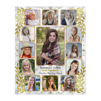 Graduation High School Photo Collage | Marble Gold Acrylic Wall Art