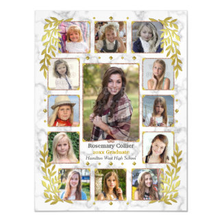 Graduation High School Photo Collage | Marble Gold Magnetic Card