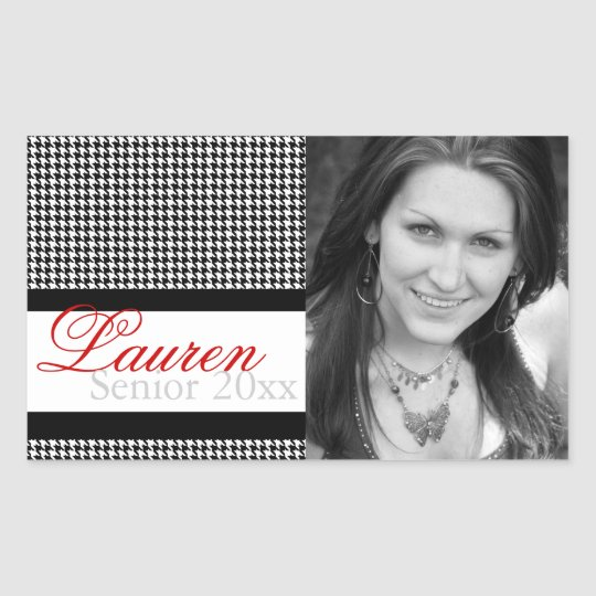 Graduation Houndstooth Photo Labels Personalized