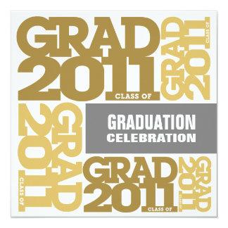 Graduation Invitation Celebrate 2011 Gold White