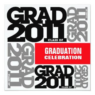Graduation Invitation Celebrate 2011 Red Grey Font