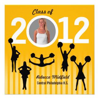 Graduation Invitation Cheerleader Add Photo Orange