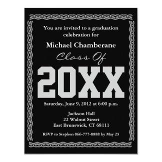 "Graduation Invitation Classic Black 4.25"" X 5.5"" Invitation Card"