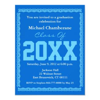 "Graduation Invitation Classic Blue 4.25"" X 5.5"" Invitation Card"
