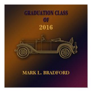Graduation Invitation - Classic Car -  Guys -2016