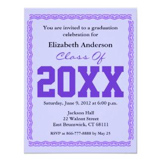 "Graduation Invitation Classic Purple 4.25"" X 5.5"" Invitation Card"