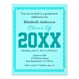 "Graduation Invitation Classic Teal 4.25"" X 5.5"" Invitation Card"