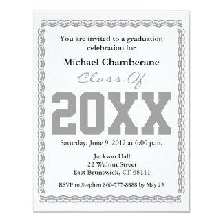 """Graduation Invitation Classic White Gray 4.25"""" X 5.5"""" Invitation Card"""