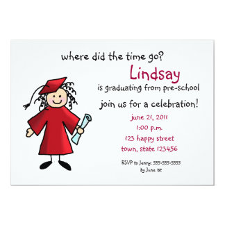 Graduation Invitation--Girl, Red Card