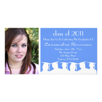 Graduation Invitation Photo Card (Blue Silhouette)