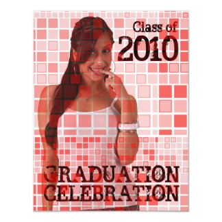Graduation Invitation Photo Insert Mosaic Red 1