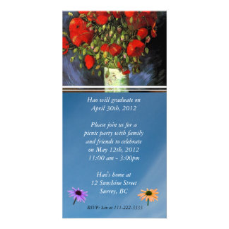 Graduation Invitation. Vase with Red Poppies Photo Cards