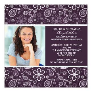 "Graduation Invitation with Photo Purple Paisley 5.25"" Square Invitation Card"