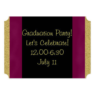 Graduation Invitations in Purple, Gold and Black