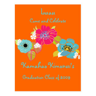 Graduation Luau Invitations/DIY background Postcard