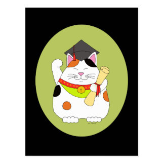 Graduation Maneki Neko Postcard