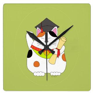 Graduation Maneki Neko Square Wall Clock