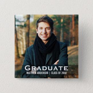 Graduation Modern Photo Button Square