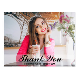 Graduation Modern Thank You Photo Postcard S B