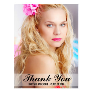 Graduation Modern Thank You Postcard Script