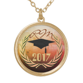 Graduation monogrammed gold plated necklace