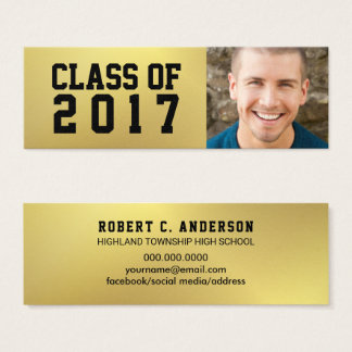Graduation Name Card Faux Gold Foil Photo