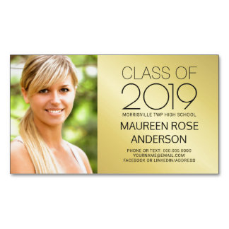 Graduation Name Card Gold Foil Grad Photo Contact Business Card Magnet