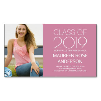 Graduation Name Card Photo Contact - Edit Colors Business Card Magnet