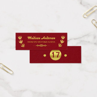 Graduation Name Card Senior Year Insert Gold Red