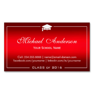 Graduation Name Card - Stylish Plain Red Gradient Magnetic Business Card