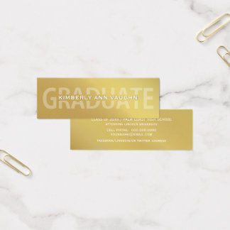 Graduation Name Cards Faux Gold Foil Letterpress