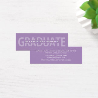 Graduation Name Cards Purple Bold Lettering