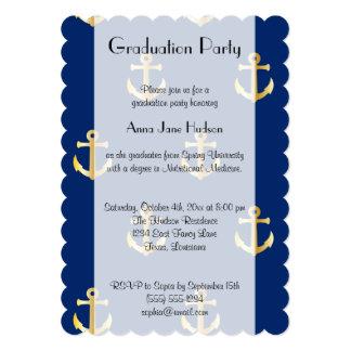 Graduation - Nautical Anchors - Blue Gold Card